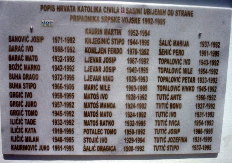 Četrdeset ubijenih od 1992. do 1995. iz župe Sasina